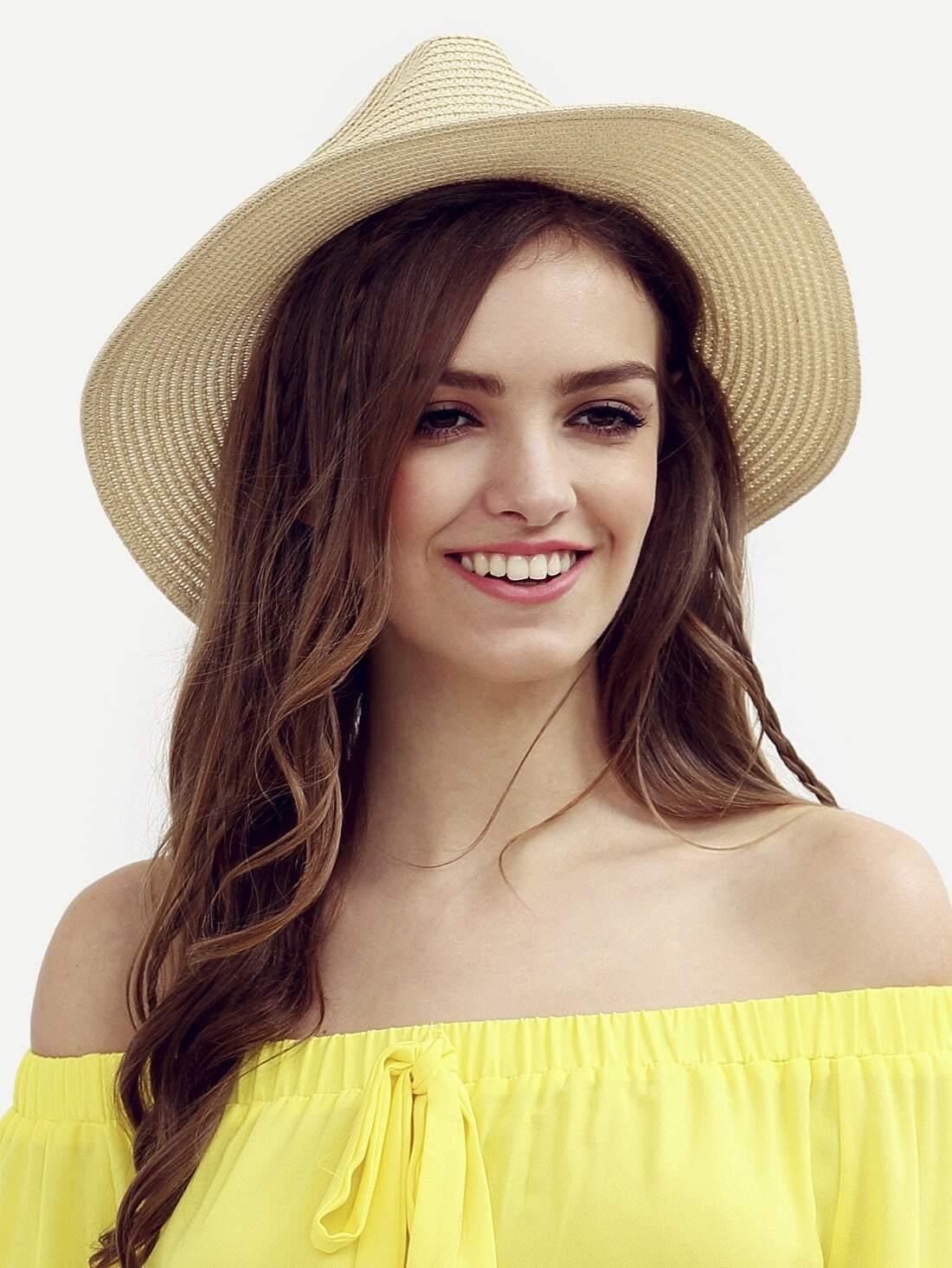 chapeau de paille tendance avec bretelle blanc french romwe. Black Bedroom Furniture Sets. Home Design Ideas