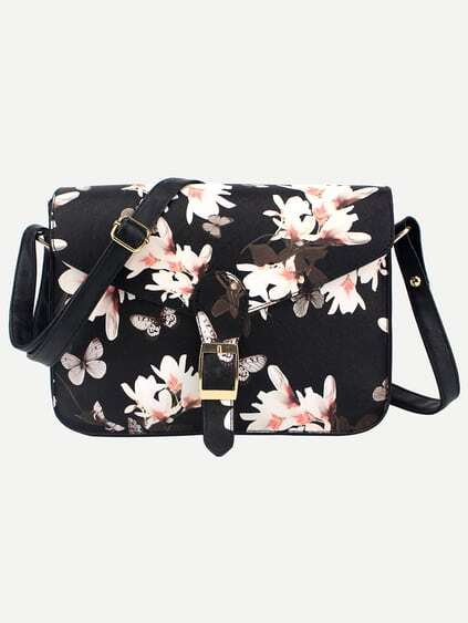 Black Flower Print Buckle Strap Flap Bag