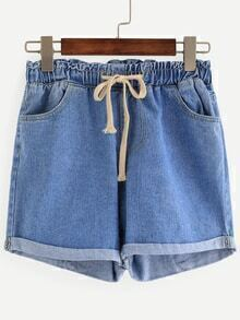 Blue Drawstring Waist Cuffed Denim Shorts