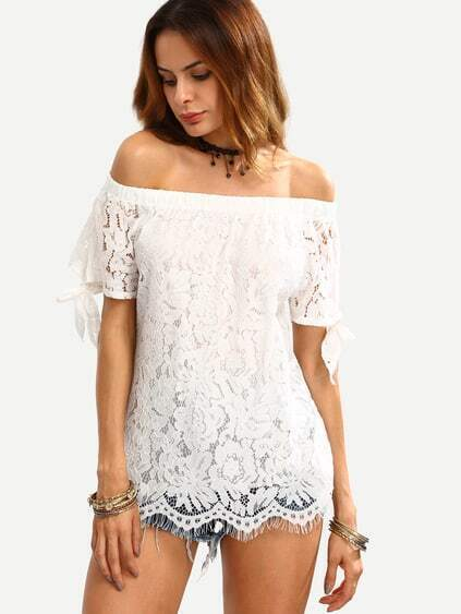 White Off The Shoulder Lace Insert Knotted Top