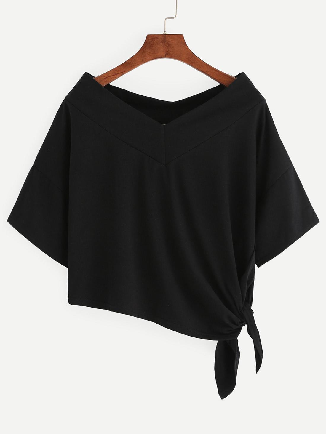 Black Side Tie Drop Shoulder Asymmetric T-shirt