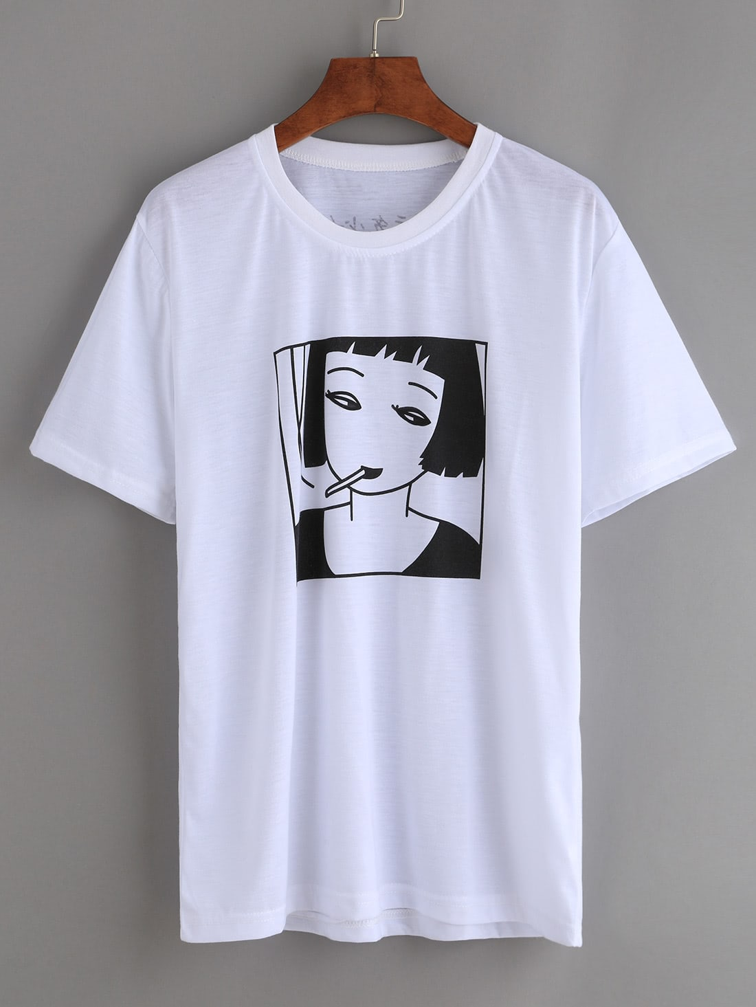 white smoking girl print t shirtfor women romwe
