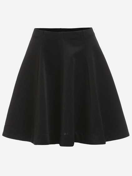 Plain Black Flare Skirt