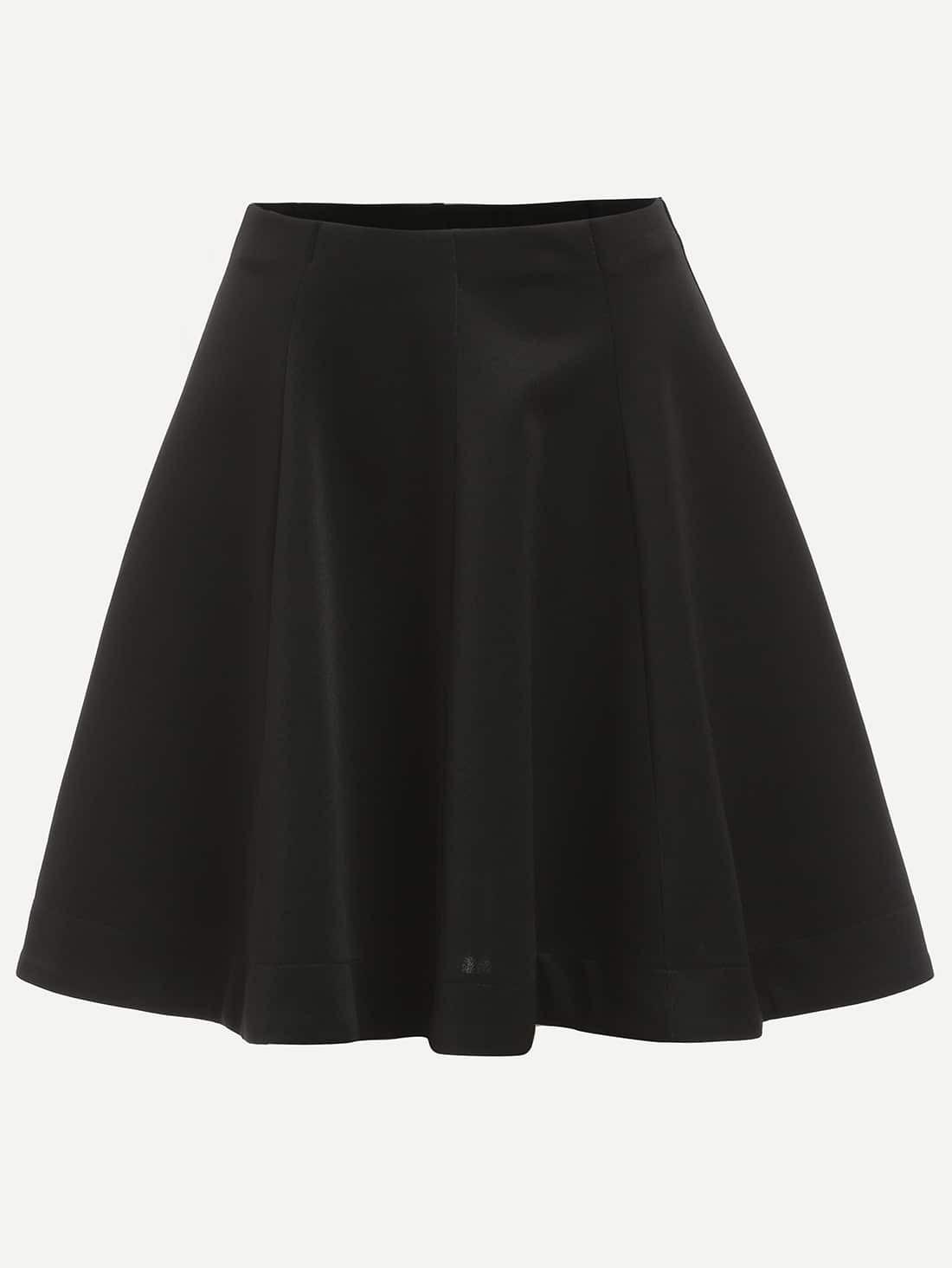 Plain Black Flare Skirt