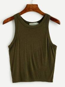 Olive Green Crop Racerback Tank Top