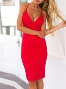 Red V Neck Crisscross Cami Sheath Dress
