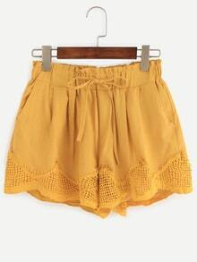 Yellow Drawstring Waist Scalloped Lace Trimmed Shorts