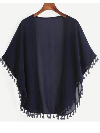 Navy Tassel Trimmed Open Front Chiffon Blouse