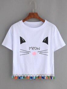 Camiseta gato estampado flecos -blanco