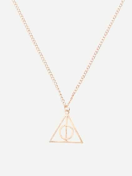 Golden Deathly Hallows Rotary Pendant Necklace