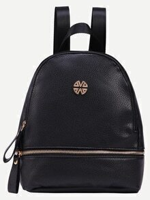 Black Faux Leather Zip Front Backpack