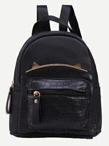 Black Crocodile Embossed Metal Trim Backpack