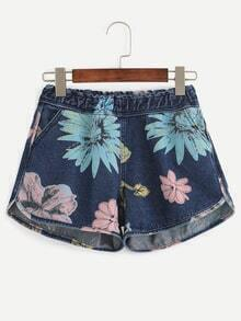 Blue Floral Print Elastic Waist Denim Shorts