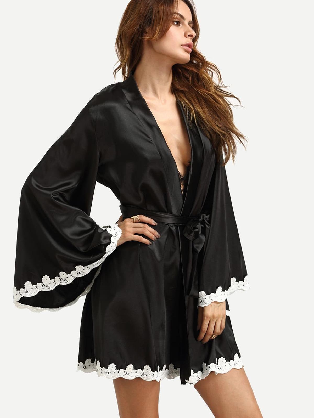 黑色 針織 邊 日式睡袍