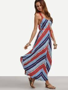 Multicolor Mixed Stripe Belted Cami Dress