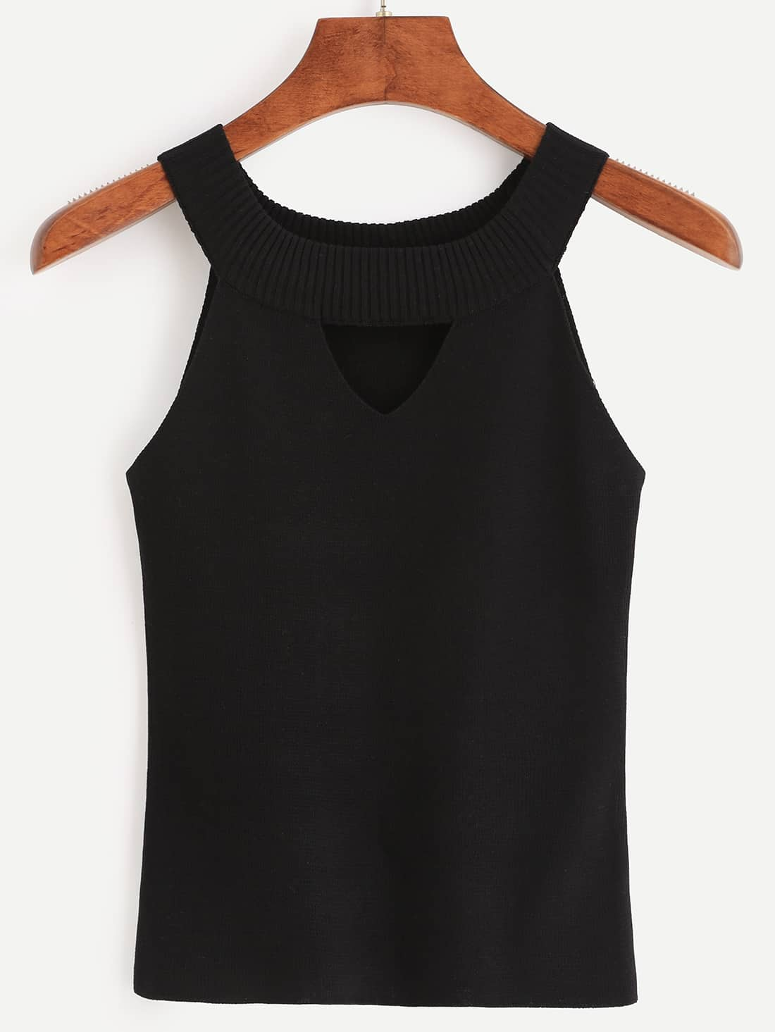 Black Ribbed Neck Cutout Knitted Top