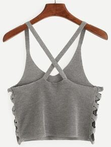 Grey Lattice Side Knitted Crop Cami Top