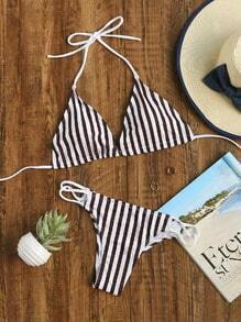 Black Striped Triangle Bikini Set