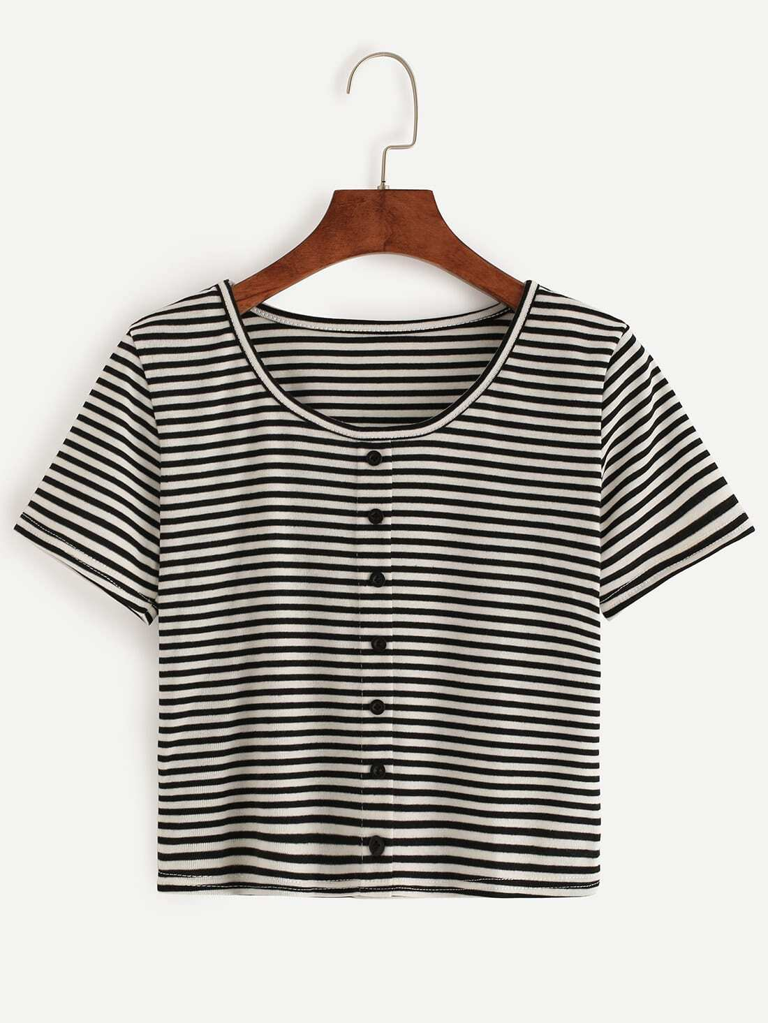 Black White Striped T Shirt With Buttons