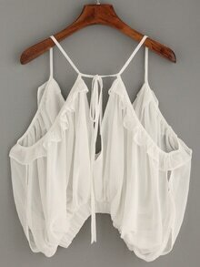 White Double V Neck Ruffled Chiffon Cami Top