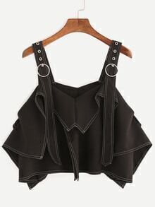 Black Adjustable Strap Asymmetric Top