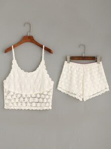 White Hollow Out Crochet Cami Top With Shorts