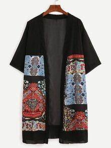 Kimono en mousseline vintage imprimé - noir