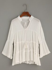 White Tie Neck Ruffled Tiered Blouse