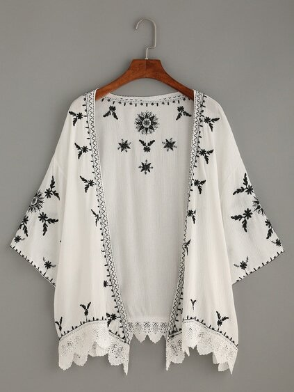 White Scalloped Crochet Trimmed Embroidered Kimono