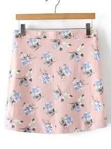 Pink Floral Zipper Side Skirt