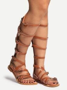 Brown Peep Toe Strappy Gladiator Sandals