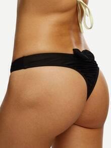 Bottom bikini espalda con lazo fruncido -negro
