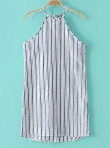 Blue Halter Stripe Dipped Hem Key-hole Dress