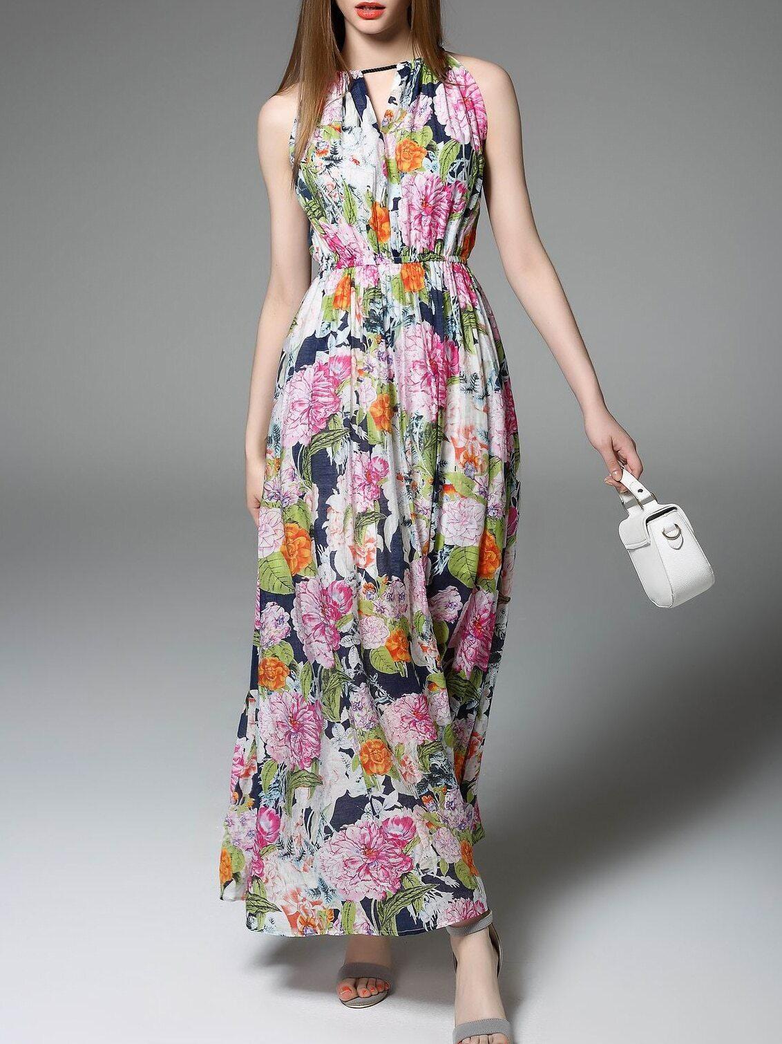 Multicolor Halter Floral Maxi Dress