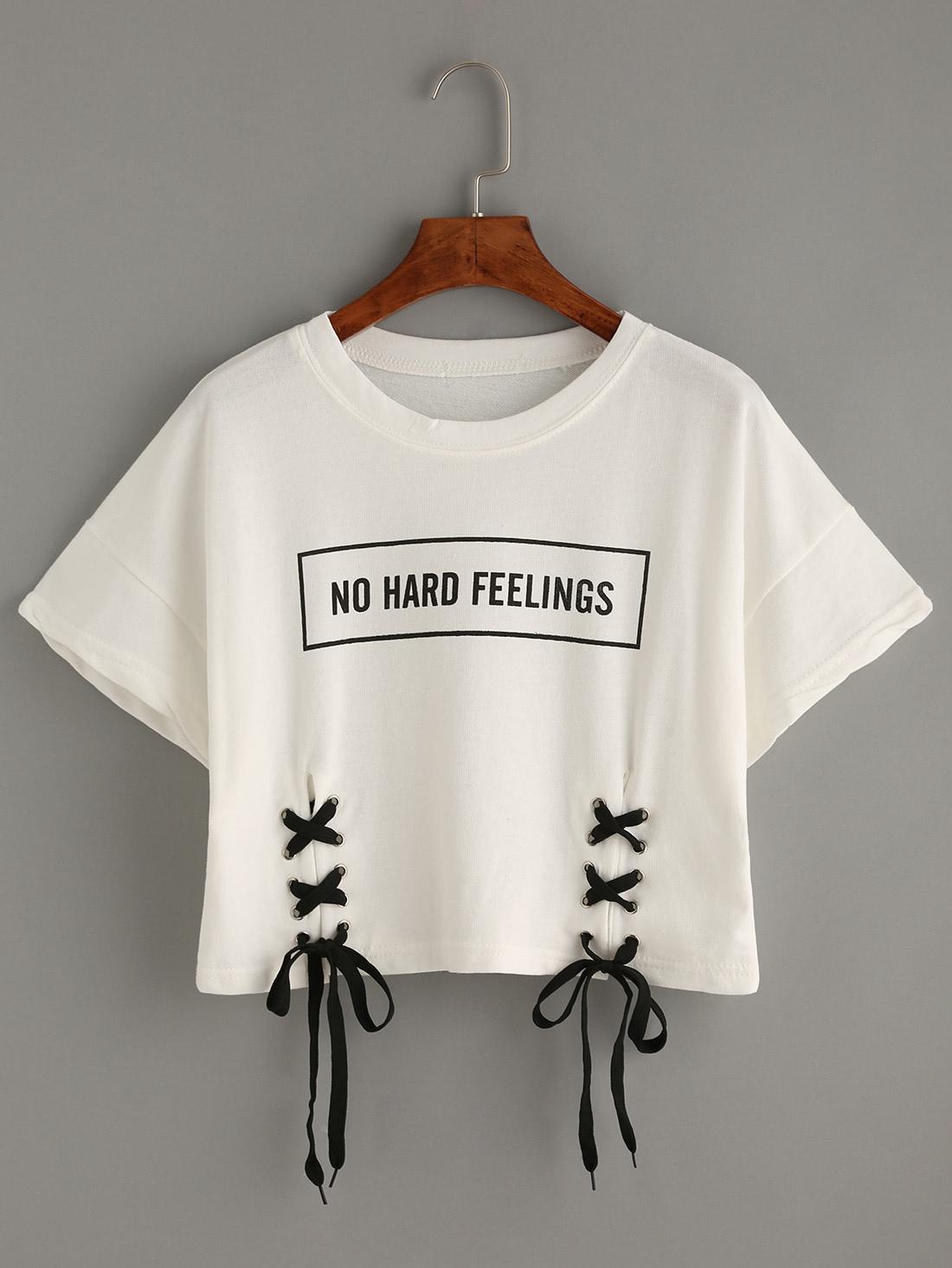 White Letter Print Lace-Up Crop T-shirt