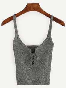 Grey Spaghetti Strap Ribbed Lace Up Cami Top