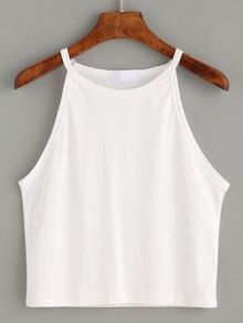 White High Neck Crop Cami Top