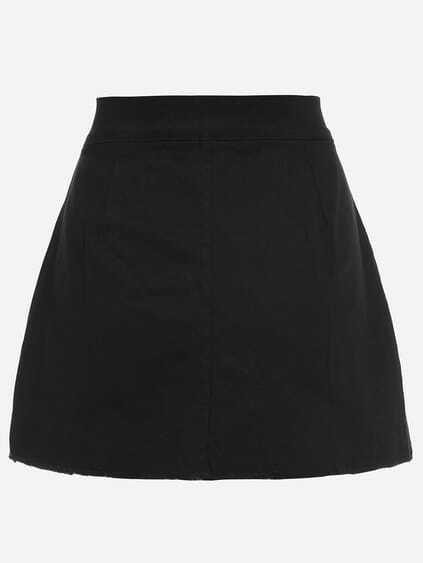 Romwe / Black Lace-Up Fly Dual Pocket Raw Hem Skirt