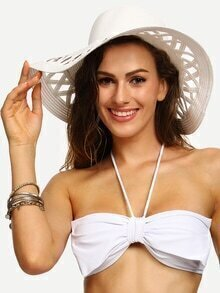White Vacation Collapsible Hollow Large Brimmed Straw Hat