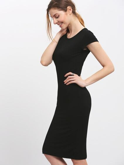 Black Crew Neck Slim Sheath Dress