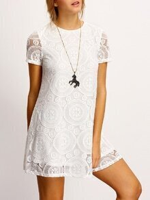 White Crew Neck Sheer Floral Lace Dress