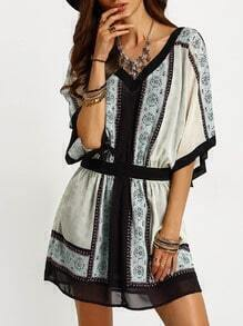 Beige Aztec Print Color Block Trims Dress