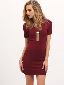 Burgundy Crew Neck Bodycon Dress