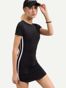 Black Short Sleeve Striped Side T-shirt Dress