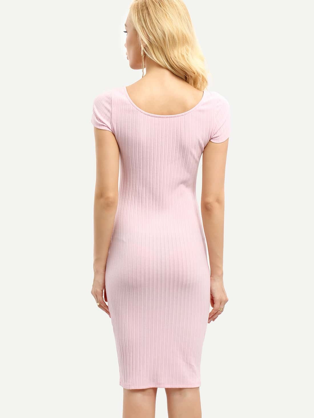 robe moulante creux rose clair french romwe With robe moulante rose
