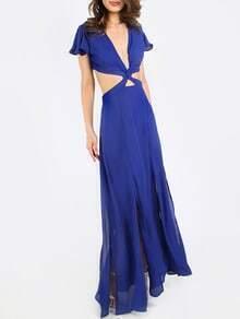 Vestido cut out espalda maxi -azul real