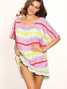Colored Stripe Ruffle Hem Halter Neck Shift Dress