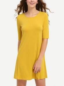 Vestido manga media hueco -amarillo