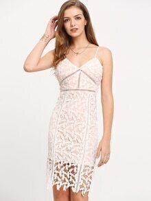 Beige High Waist Hollow Out Lace Bandeau Dress