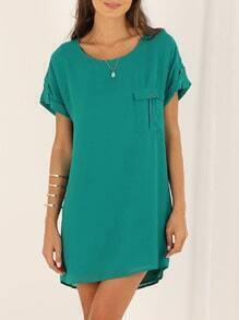 Green Pocket Zipper Back Shift Dress